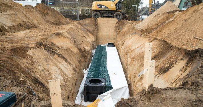 Meykopff Galabau Lübeck-Regenwassernutzung Rigolenversickerung offene Rigole