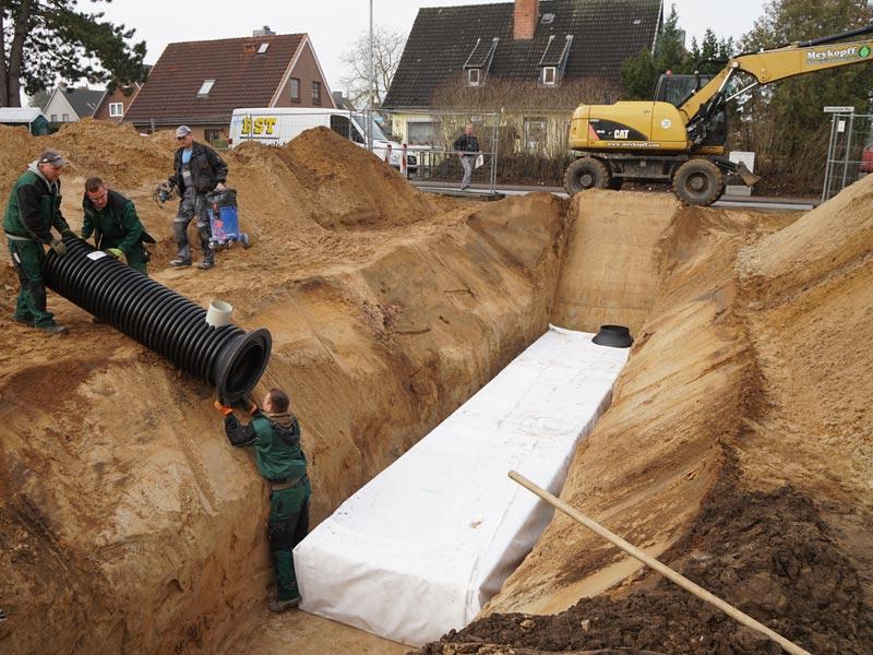 Meykopff Galabau Regenwassernutzung Rigolenersickerung Einlassen des Kanals