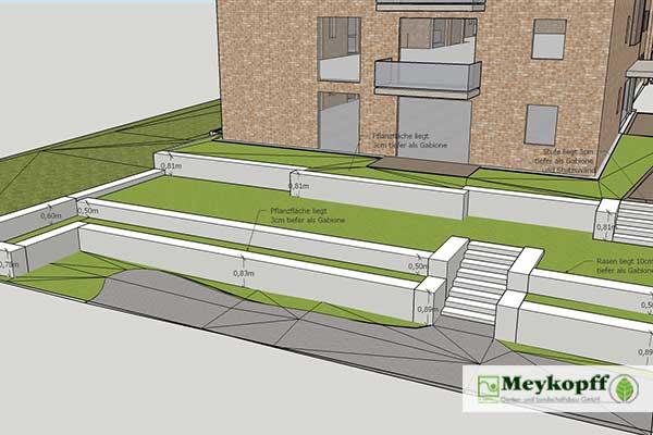 Meykopff GaLaBau Lübeck Terrassen mit Gabionen Andersenring Plan 1