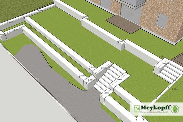 Meykopff GaLaBau Lübeck Terrassen mit Gabionen Andersenring Plan 2