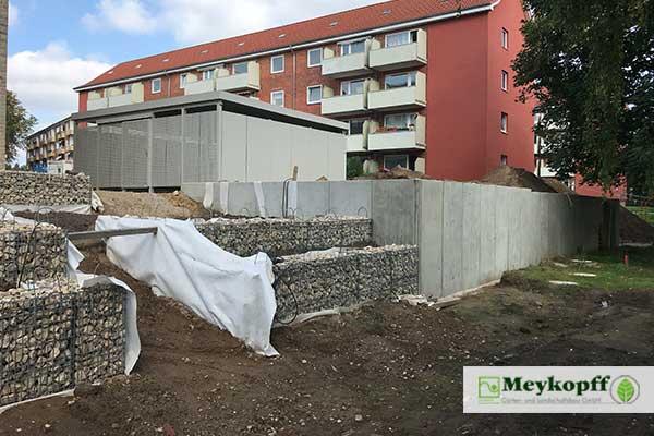 Meykopff GaLaBau Lübeck Terrassen mit Gabionen Andersenring